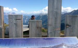 Die Alpenzeigetafel vorne im Bild benennt alle Berge, die im Hintergrund, hinter den Brettern zu sehen sind. Auch Irgendlinks Kopf vor den Bergen ist sichtbar.