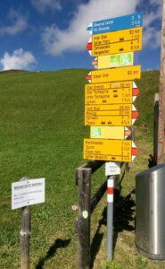 Wanderwegweiser mit vielen Bergwegen vor Wiesenhang und blauem Himmel.