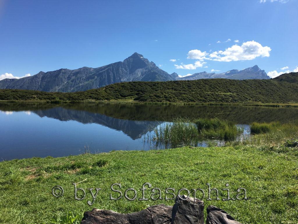 Bergsee, im Vordergrund Wiese, im Hintergrund Bergmassiv