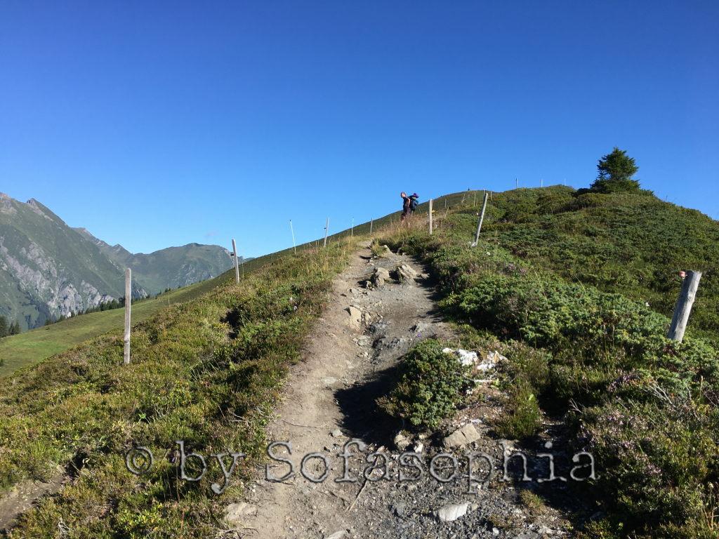 Irgendlink von halber Höhe aus fotografiert, wie er immer weiter auf dem Grat auf den Berg steigt.