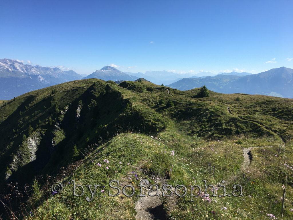 Oben angelangt: Ausblick auf den weiterführenden Grat zum nächsten Bergspitz und die Aussicht in die Weite.