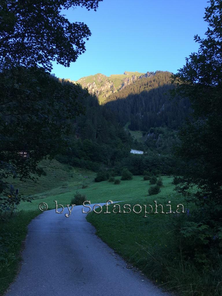 Morgendämmerung: Bergspitze in der Sonne, Wälder, Wanderweg und Wiesen noch im Schatten.
