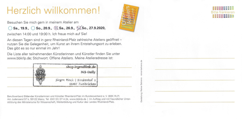 Ausstellungsinfos mit Datum und Atelieradresse.
