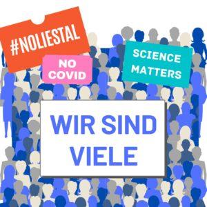 Grafik, die demonstierende Menschen mit Schildern zeigt. Auf den Schildern steht #noLiestal, Science matters, No Covid, Wir sind viele