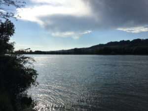 Der Rhein kurz vor Koblenz, im Hintergrund das andere Ufer, der Schwarzwald, darüber wolkiger Blaumhimmel