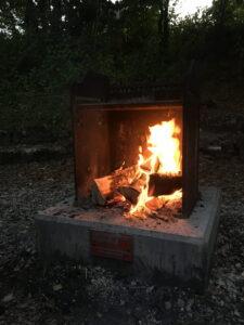 Das Feuer ein wenig weiter heruntergebrannt