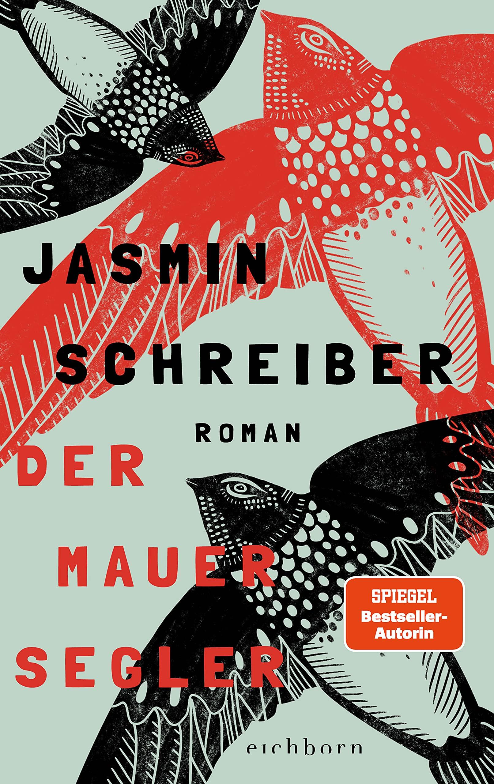 Buchcover zeigt flächendeckend drei stilisiert gemalte Mauersegler, zwei schwarze und ein roter auf hellblaugrauem Hintergrund. Darüber der Autorinname in schwarz und Titel in rot.